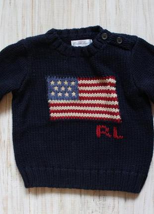 Вязаный свитерок ralph lauren на 9мес.