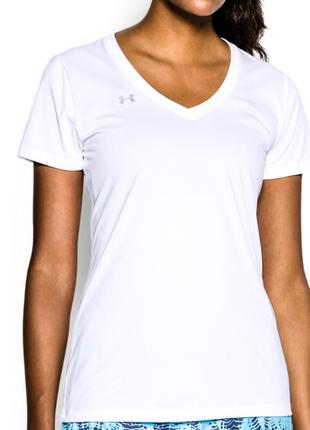 Женская футболка с v-образным вырезом under armour ua tech, белая