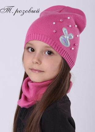 Тонкая детская демисезонная шапка для девочки от 2 лет 48 50 5...