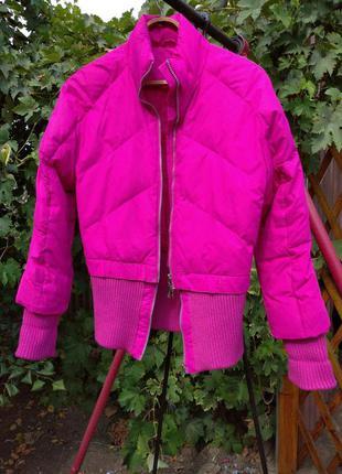 Куртка пуховик ярко-розовый