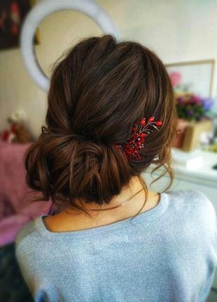Рубін- шпилька-заколка- прикраса для волосся-безкоштовна доставка