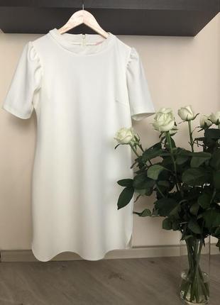 Шикарное платье трапеция, платье свободного кроя, белое платье