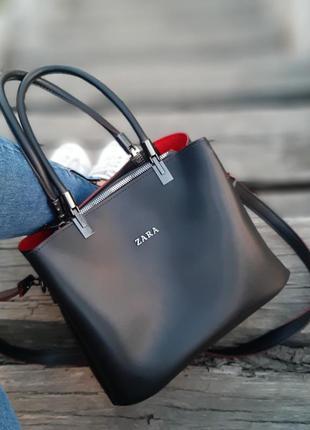 Женская сумка-шоппер zara на плечо чёрная с красным