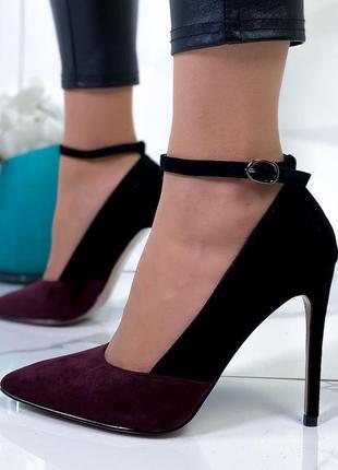 Замшевые туфли лодочки на высоком каблуке,чёрно-бордовыет туфл...
