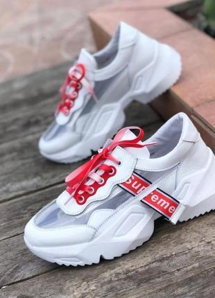 Крутые кожаные кроссовки белые шнурки в комплекте