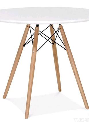 Стильный и лаконичный обеденный стол из бука 60см на ногах дерево