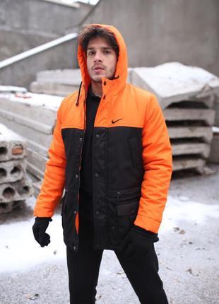 """Парка """"зима"""" оранжево-черная"""