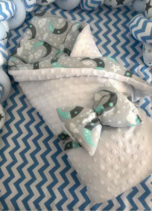 Конверт-одеяло на выписку в кроватку в коляску