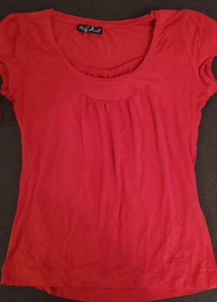 Красная блуза футболка вискоза короткий рукав