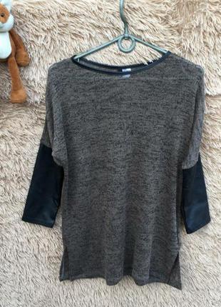 Кофта оверсайз с кожаными рукавами (можно для беременных)