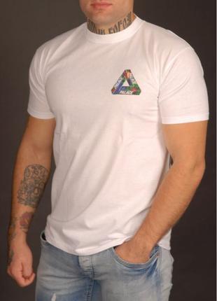 Белая яркая футболка Palace