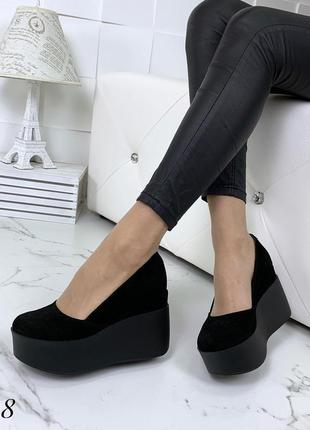 Шикарные туфли на платформе из натуральной замши