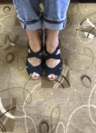 Обалденные босоножки кожаные чёрные испания 38 размер