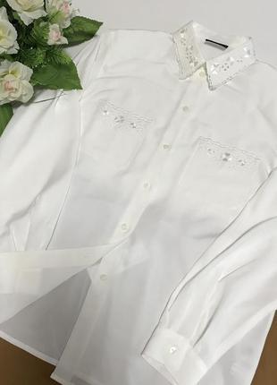 Белая базовая рубашка рубаха вышивка батист в стиле zara бохо ...