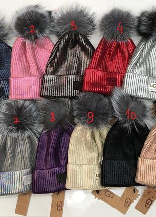 Женская шапка угг/ ugg с натуральным помпоном из енота/чернобурки