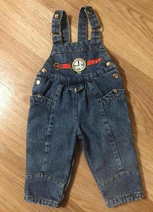Теплый джинсовый детский полукомбинезон