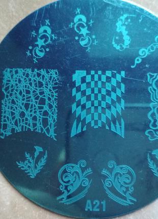 Плитка А 21 стемпинг стальная пластина маникюр дизайн ногти