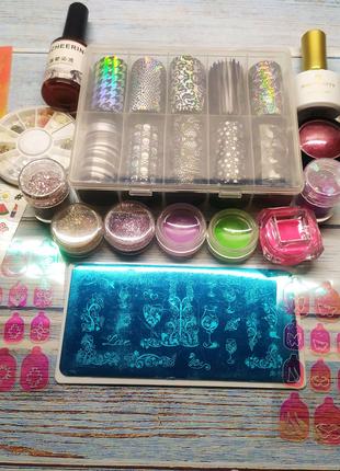 Набор для дизайна ногтей маникюра фольга наклейки пигменты втирка