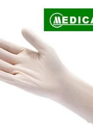 Перчатки медицинские смотровые Medicare латексные припудренные М