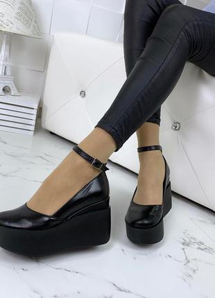 Шикарные черные туфли из натуральной кожи