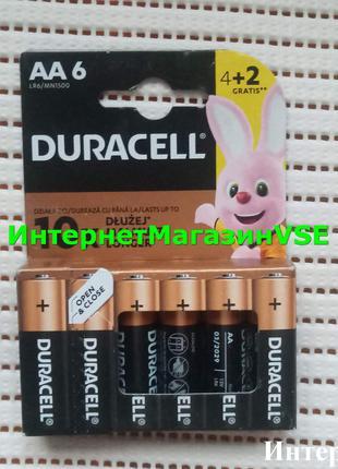 Батарейка типа AA Duracell MN1500 LR06 1x(4+2) шт ПАЛЬЧИКОВЫЕ 29г