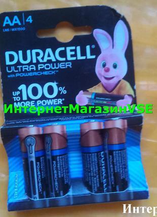 Батарейки Duracell Ultra Power 1.5В MX1500-LR6 AA 4шт ПАЛЬЧИКОВЫЕ