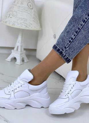 Шикарные белые кроссовки из натуральной кожи