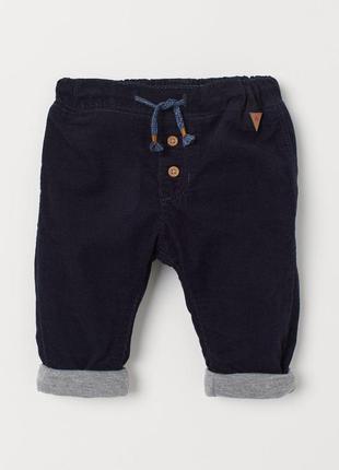 Нові вельветові штани на підкладці h&m розм. 92 і 98