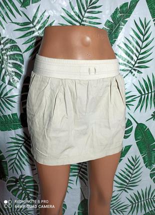 ❌❗ бежевая юбка бочонок с карманами ❌❗