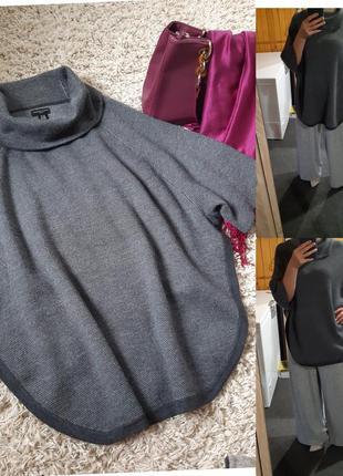 Мега стильный свитер/пончо мериносовая шерсть, adrienne vittad...