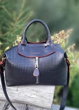 Женская сумка-шоппер саквояж со структурой рептилия чёрная