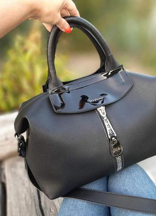 Женская сумка-шоппер саквояж чёрная