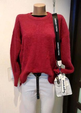 Теплый стильный малиновый джемпер свитер кофта пуловер