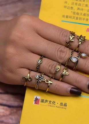 Кольца на фаланги. набор из 10 штук (ring10pcs-seagold)