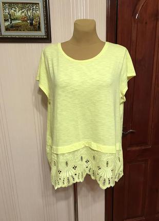 Лимонная футболка с вышивкой