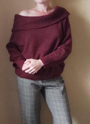 Бордовый джемпер пуловер свитер кофта с открытыми плечами  мар...