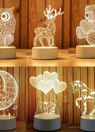 3D лампа  акриловый светодиодный ночник