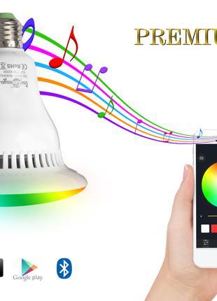 Музыкальная Смарт Лампа ЛЭД + RGB свет, стерео динамик 5Вт