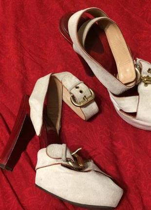 Деревянные замшевые босоножки сандали 24-24.5 см