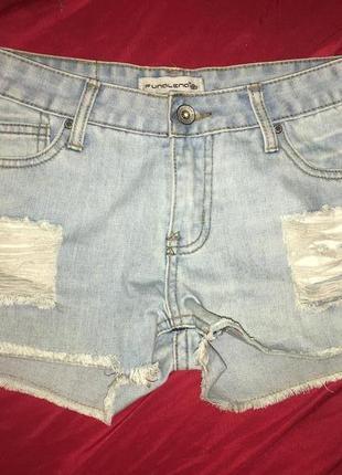 Шорты голубые джинсовые рваные