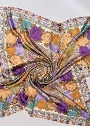Шикарный  винтажный шелковый платок италия