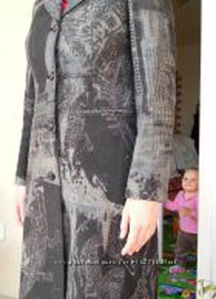 Плащ пальто, р. 46 ткань плотный джинс-коттон 100%