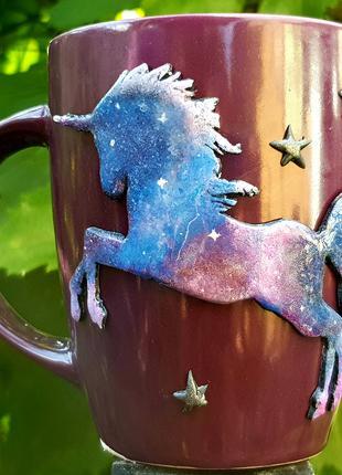 Чашка с декором КОСМИЧЕСКИЙ ЕДИНОРОГ полимерная глина хенд мэйд