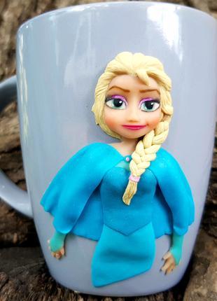 Чашка игрушка ЭЛЬЗА Холодное сердце полимерная глина хенд мэйд