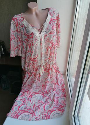 Новое полупрозрачное пляжное платье принт рисунок батал большо...