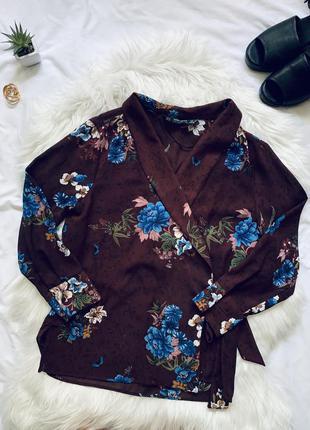 Бордовая блуза в цветочный принт ❤ zara ❤