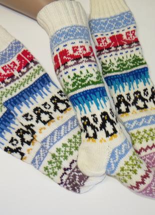 Новогодние носки с снежинками оленями