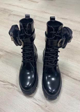 Ботинки натуральная кожа с карманом сумочкой армейские берцы н...