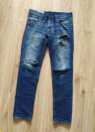 Мужские hollister скинни штаны джинсы синие с дырками рваные
