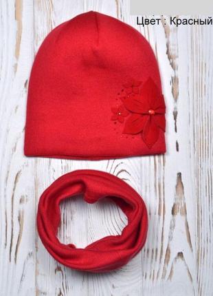 Детская двойная демисезонная шапка для девочки от 5 лет 52 54 ...